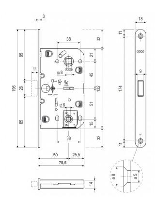 Межкомнатные замки AGB B.061025012 Mediana Polaris WC ,ант. латунь