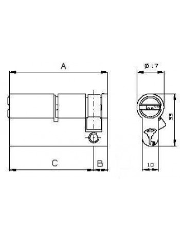 Цилиндр Mul-t-lock ClassicPro 54,5 (9,5x45) латунь