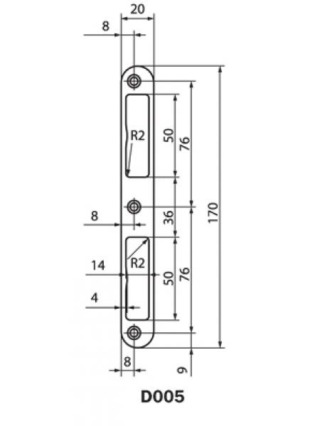 Ответная планка Nemef D005 под D147 на прямые двери (под алюминий)