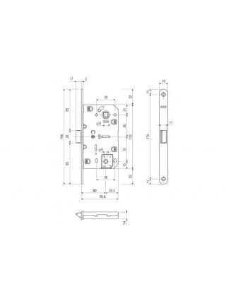Межкомнатные замки STV Medium WC, 96 мм, матовая латунь