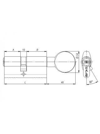 Цилиндр Kale 164 SM 110 (55x55)Т, тумблер, никель