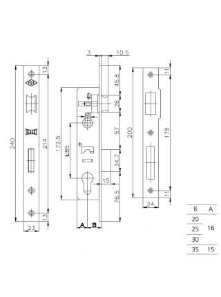Замок для профильных дверей Kale 153, 20мм