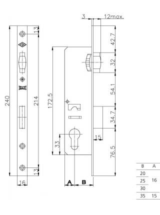 Замок для профильных дверей Kale 155/Р, 25мм(без отв. планки)