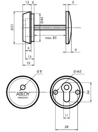 Броненакладка ABLOY CH101 DIN ROUND 12,5 мм.,40-80 мм., латунь