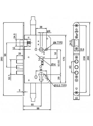 Замок врезной Mul-t-lock MPL 212
