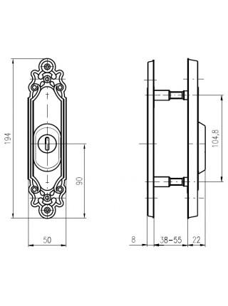 Броненакладка ROSTEX R3 OZDOBNA DIN,38-55мм,мат. титан