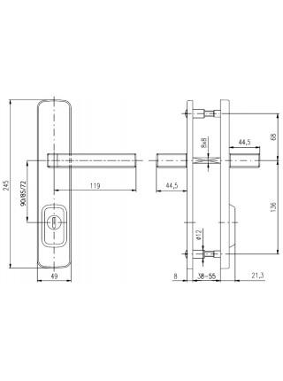 Противовзломные ручки Rostex Astra R1 72 мм,38-55 мм, фикс. хром мат.