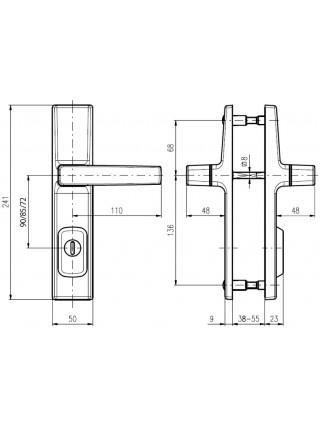 Противовзломные ручки Rostex Office R1 72 мм сатин хром
