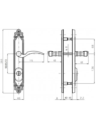 Противовзломные ручки Rostex Ozdobna R1 90 мм ,40-45 мм,титан мат,левая