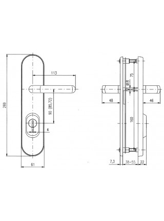 Противовзломные ручки Rostex Universal R1 72 мм,38-55 мм, фикс. хром