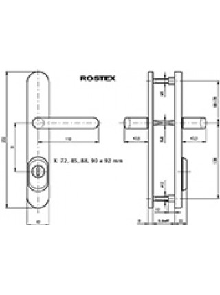Противовзломные ручки Rostex EXCLUSIVE RX R4 90 мм нерж.