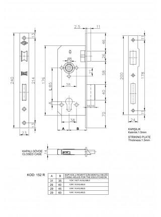 Замок для профильных дверей Kale 155, 20мм