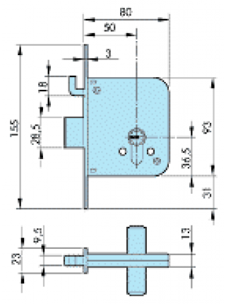 Замок Azbe 8801-S, 50мм, отв.планка, латунь