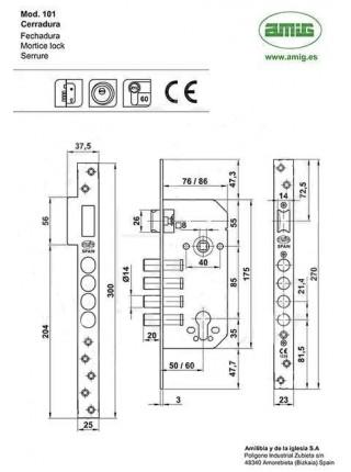 Замок AMIG BASE PZ 100 85/50 бронза
