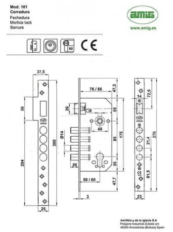 Замок AMIG BASE PZ 100 85/50 черный