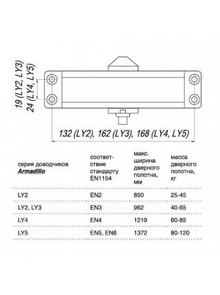 Доводчики Armadillo LY3 65 кг (алюминий)