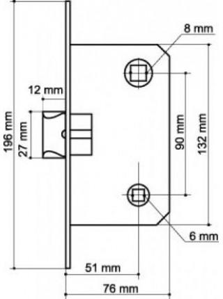 Межкомнатные замки ARMADILLO LH 19-50 AB WC , бронза