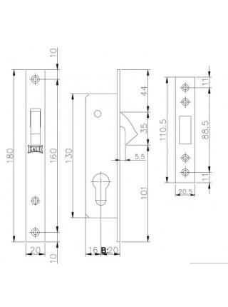 Замок для профильных дверей Kale 201, 20мм