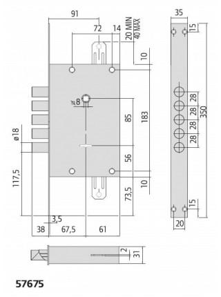 Врезной замок Сisa 57675.48 сувальдный с системой защиты ALPS
