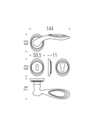 Дверные ручки  Colombo Cameo DB 41, бронза