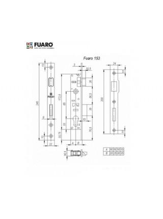 Замок для профильных дверей FUARO 153-25/85 CP (хром)