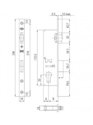 Замок для профильных дверей FUARO 155-20 CP (хром)