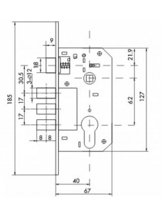 Межкомнатные замки FUARO150 3M/PB W/B, латунь