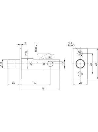 Задвижка врезная FUARO DB 860 CP (хром) 60мм