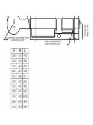 Цилиндр Kale 164 ASM 76 (31x45Т), тумблер, латунь