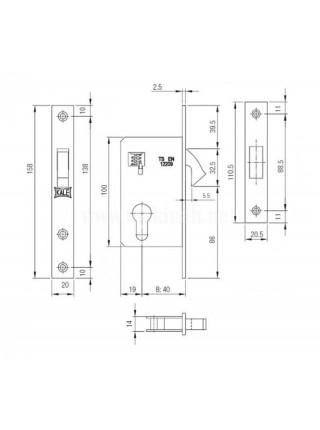 Замок для профильных дверей Kale 201, 40мм