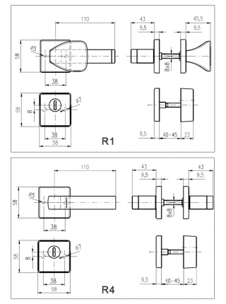 Противовзломные ручки Rostex Quadrum R4/Н золото нерж.