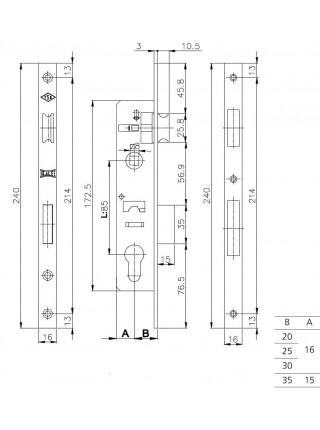 Замок для профильных дверей Kale 153/Р, 20мм